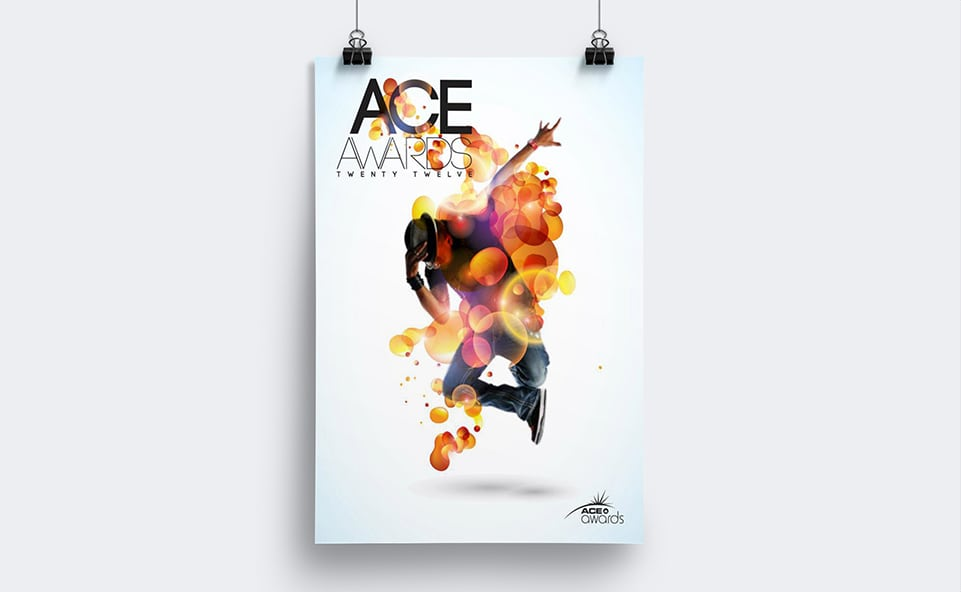 Poster graphic design for the Ace Awards featuring a street dancer amongst a vibrant array of vector designs.